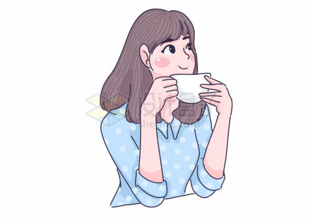 捧着咖啡杯望向远方的可爱女孩手绘插画1433960矢量图片免抠素材