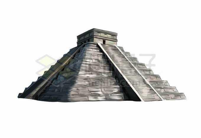 墨西哥太阳金字塔风景写实风格水彩插画8717817矢量图片免抠素材免费下载