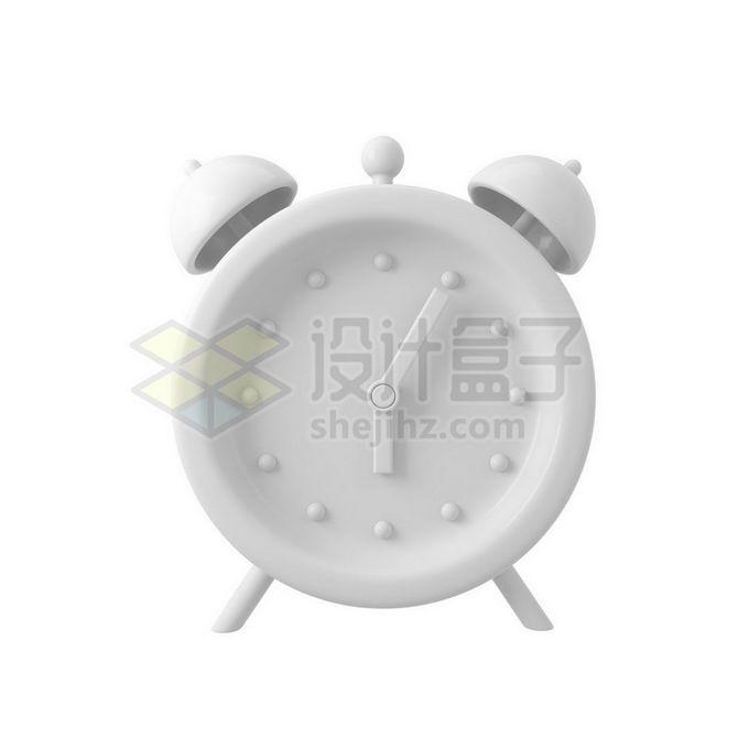 3D立体风格白色闹钟时钟模型7109976免抠图片素材 生活素材-第1张