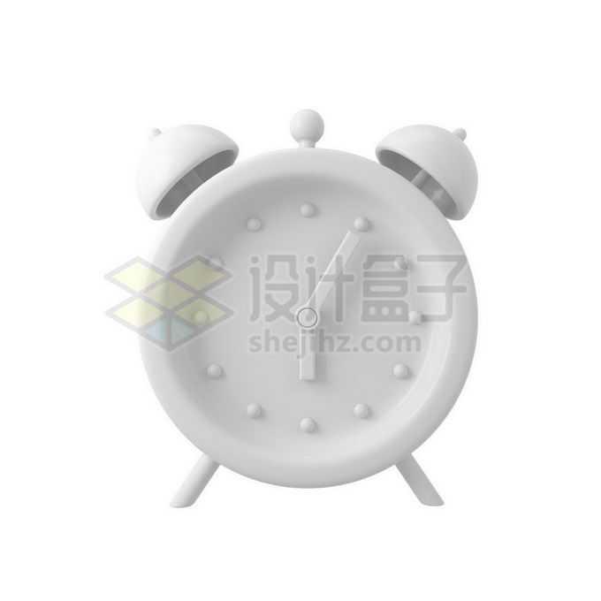 3D立体风格白色闹钟时钟模型7109976免抠图片素材