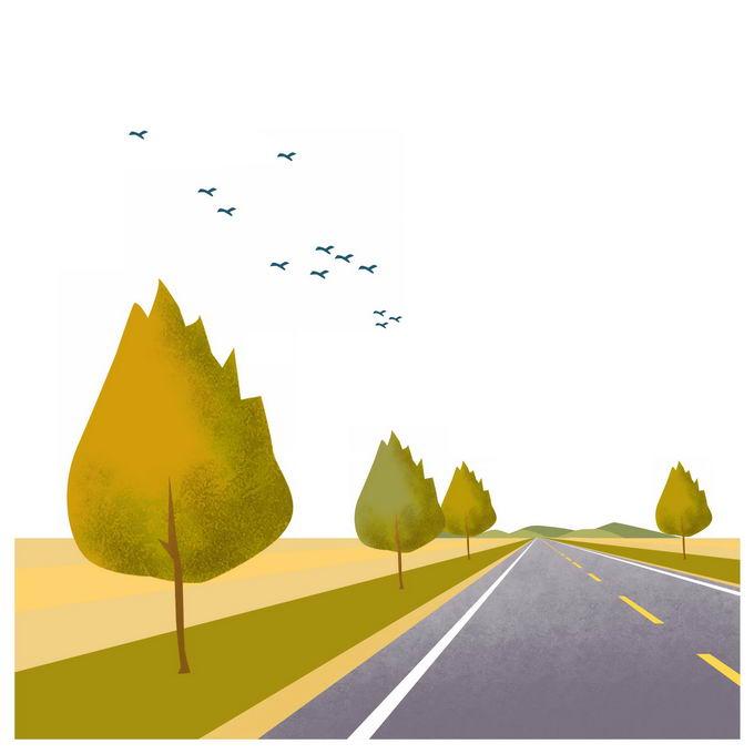 田野草原上笔直通向远方的公路风景插画7316054图片免抠素材免费下载 生物自然-第1张