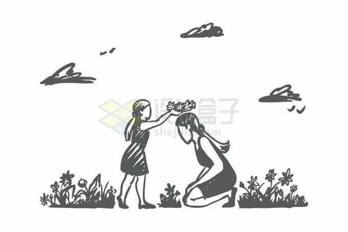 小女孩给妈妈戴上编制的花环母亲节手绘涂鸦插画4944711矢量图片免抠素材