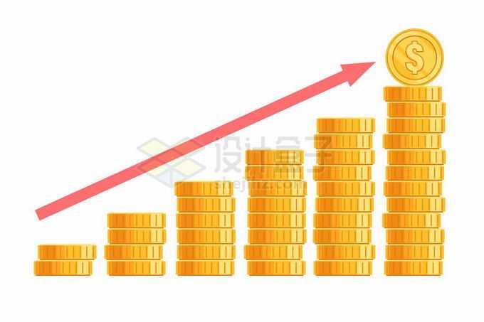 不断增多的金币和向上的红色箭头象征了财产资产的增加5533268矢量图片免抠素材