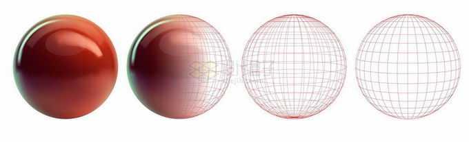 3D立体红色圆球建模草图和效果图3901481矢量图片免抠素材