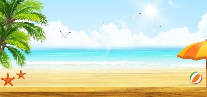 蓝天白云蔚蓝色的大海和海边沙滩椰子树风景横版背景图4063590免抠图片素材 背景-第1张