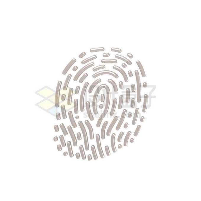 3D立体风格金属光泽指纹图案6871729免抠图片素材