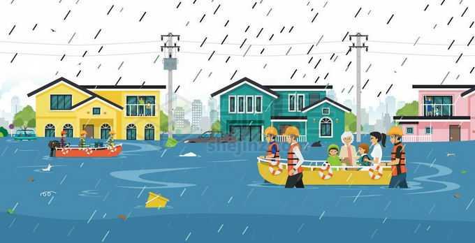 特大暴雨过后被洪水包围的房子以及救援人员用救生艇运送灾民1717962矢量图片免抠素材免费下载