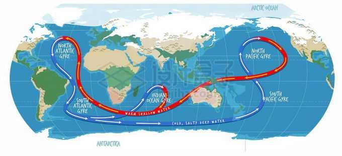 全球性洋流暖流寒流示意图世界地图3096662矢量图片免抠素材免费下载