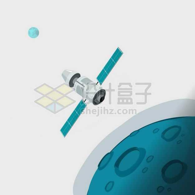 绿色的月球外星球和人造卫星探测器1409997矢量图片免抠素材