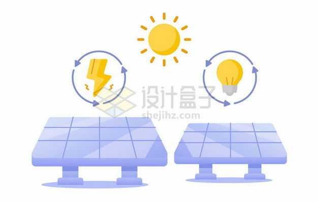 卡通太阳和紫色的太阳能发电装置绿色能源2261213矢量图片免抠素材