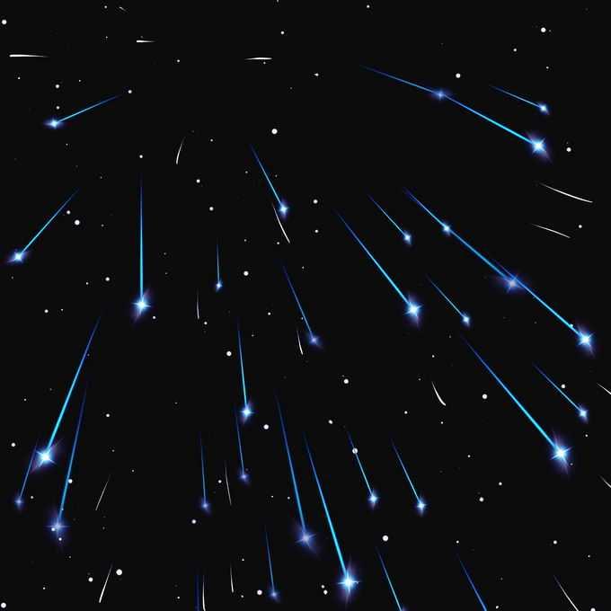 夜晚星空中的蓝色流星雨星轨流星效果快速飞行的光效果4715680图片免抠素材免费下载