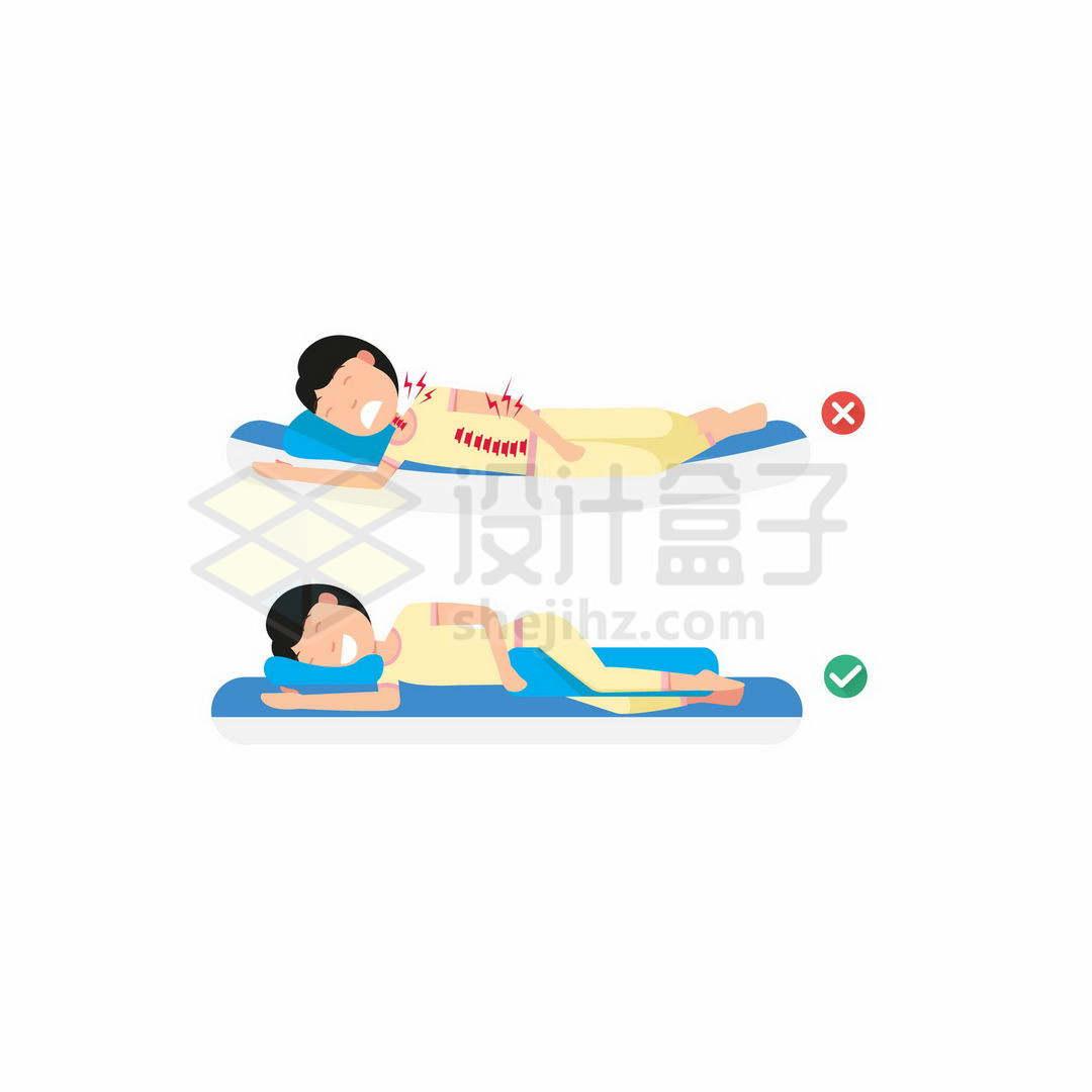 女生睡软床的危害和硬板床的好处正确和错误侧躺睡觉的睡姿对比9833424矢量图片免抠素材