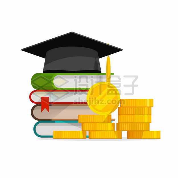 卡通博士帽书本和金币象征了知识就是金钱改变命运3601536矢量图片免抠素材