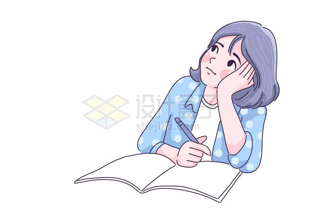 学习的时候托腮思考的卡通女孩手绘插画1112210矢量图片免抠素材