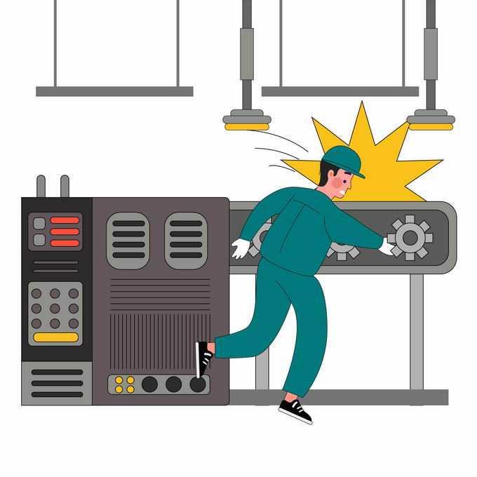 工厂里当心机械夹手安全生产宣传插画8571078矢量图片素材