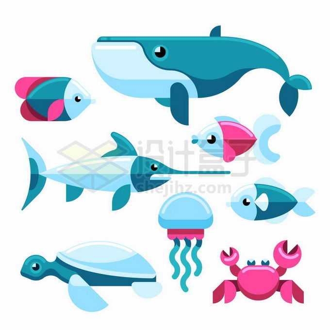 可爱的卡通鲸鱼剑鱼海龟水母螃蟹等海洋鱼类动物3115366矢量图片免抠素材
