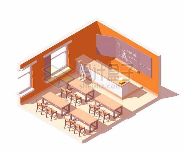 2.5D风格橙色的教室课堂逼真模型6149913矢量图片免抠素材
