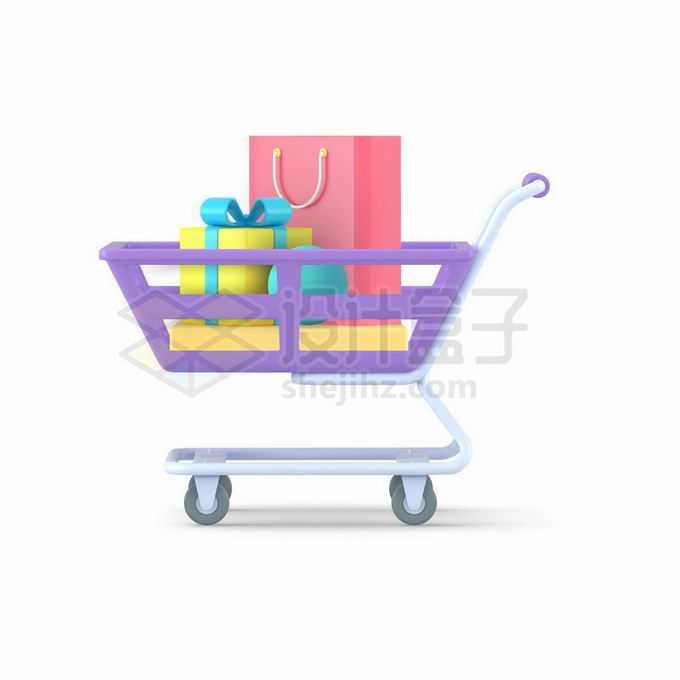 装满礼物的3D立体紫色超市购物车小推车7585003矢量图片免抠素材