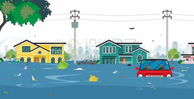 洪水淹没了街道房屋汽车垃圾漂浮在水面上1145619矢量图片免抠素材免费下载