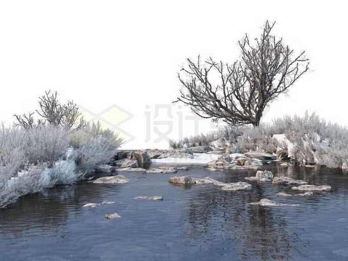 冬天被积雪覆盖的灌木丛和大树以及潺潺流水的小河风景9540145免抠图片素材免费下载