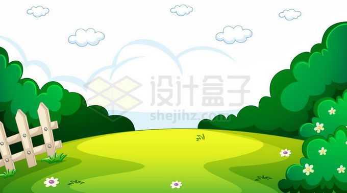 卡通风格草地和周围的树林风景图8120626矢量图片免抠素材免费下载