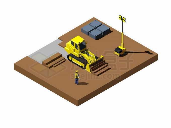 2.5D风格黄色推土机正在建筑工地上施工5655100矢量图片免抠素材免费下载