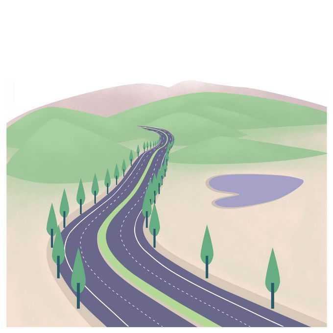 平原和山间通向远方的高速公路插画6447602图片免抠素材免费下载