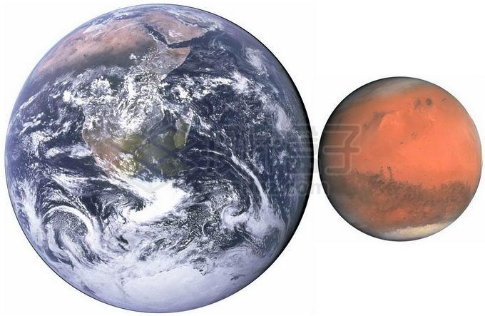 地球和火星大小对比图png免抠高清图片素材 科学地理-第1张