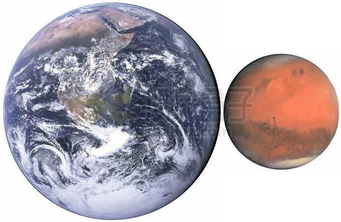 地球和火星大小对比图png免抠高清图片素材