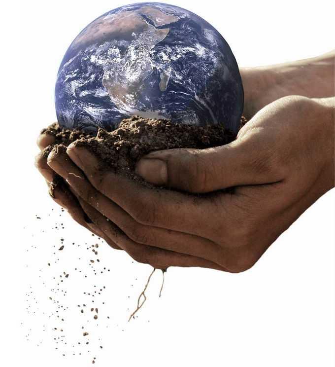 双手捧着的泥土中的地球png免抠图片素材