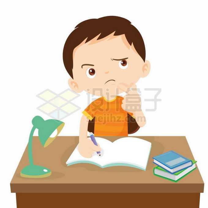 卡通小男孩做作业的时候遇到难题冥思苦想6154627矢量图片免抠素材免费下载