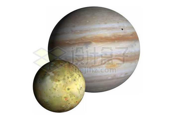 太阳系最大行星木星及其第三大卫星木卫一伊奥png免抠高清图片素材