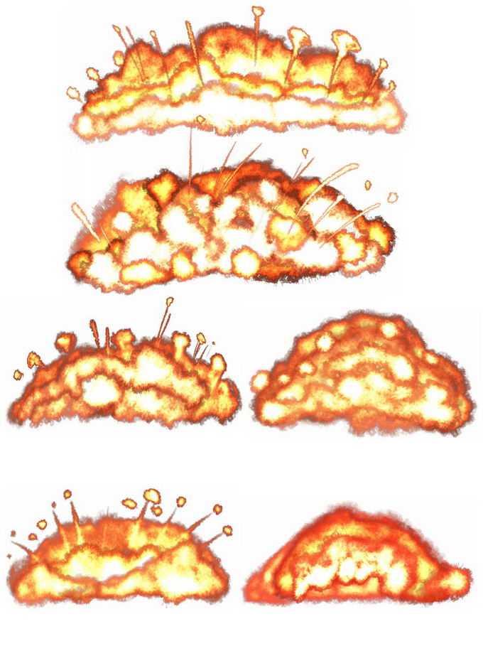6款爆炸产生的火球火焰效果6767633矢量图片免抠素材