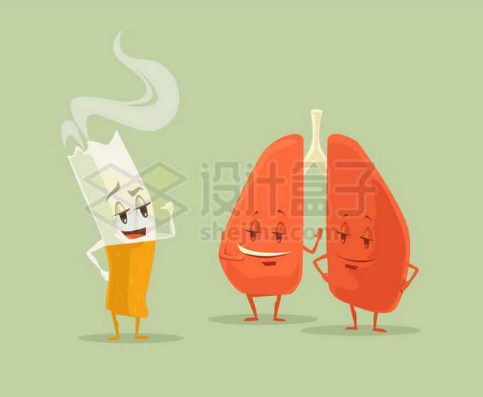 卡通香烟和肺部象征了吸烟有害健康4892625矢量图片免抠素材