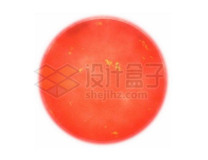 红色的恒星太阳红矮星和表面的耀斑png免抠高清图片素材 科学地理-第1张