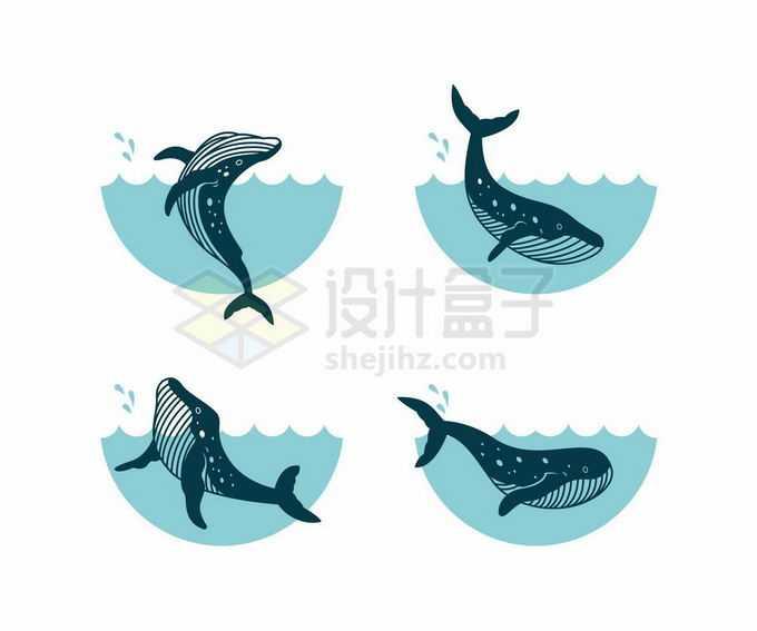 4款卡通鲸鱼海洋哺乳动物3127994矢量图片免抠素材