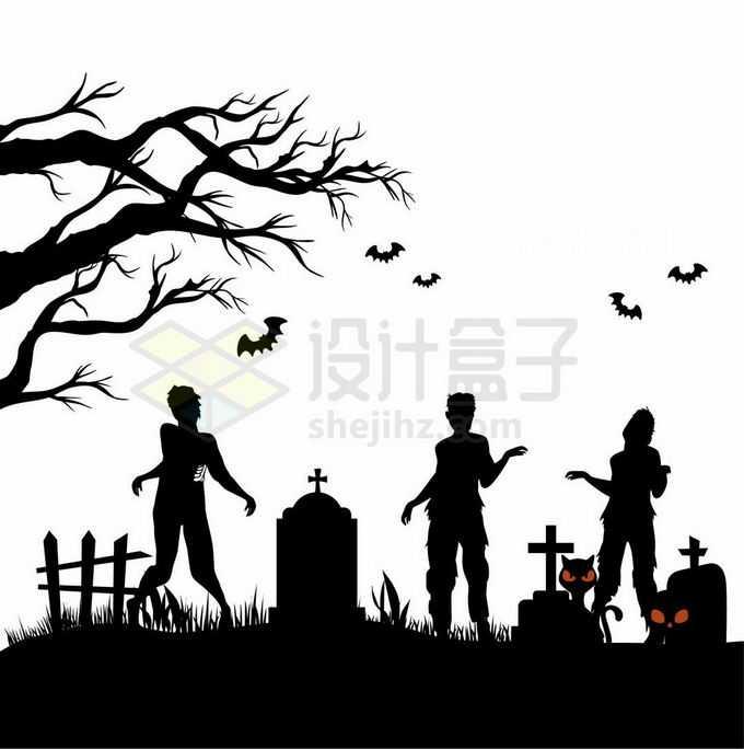 夜晚的坟地墓园中的墓碑枯树蝙蝠和僵尸活死人墓恐怖剪影3414963矢量图片免抠素材