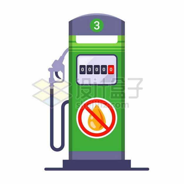 扁平化风格绿色的加油站加油机绿色能源2191738矢量图片免抠素材