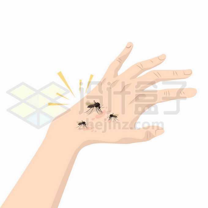 一只手上有4只蚊子叮咬7297443矢量图片免抠素材免费下载
