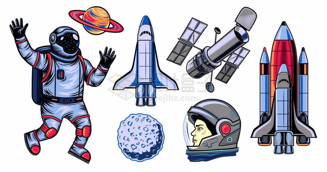 手绘漫画风格卡通宇航员土星航天飞机太空望远镜等宇宙探索插画2163521矢量图片免抠素材