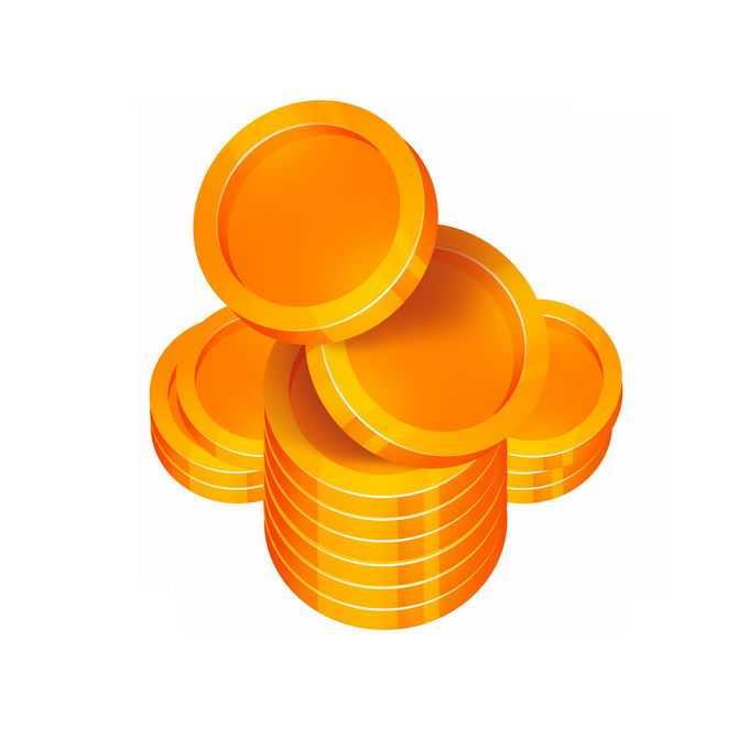 摆放整齐的一小堆空白图案的金币硬币1074717图片免抠素材免费下载