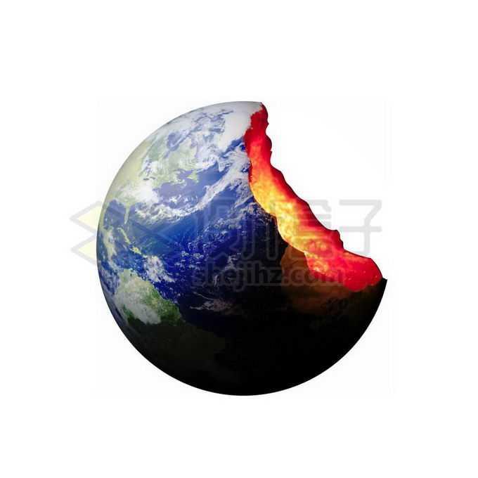 缺失了一半的地球露出内部地核物质4040879png免抠图片素材