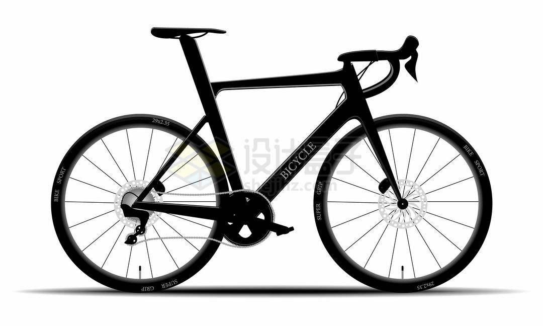 一辆黑色的山地自行车运动自行车侧视图8518564矢量图片免抠素材