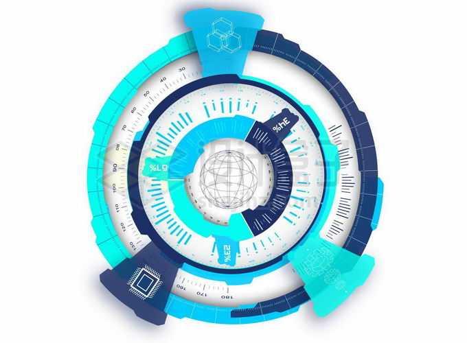 抽象蓝色高科技风格圆环装饰2619198矢量图片免抠素材