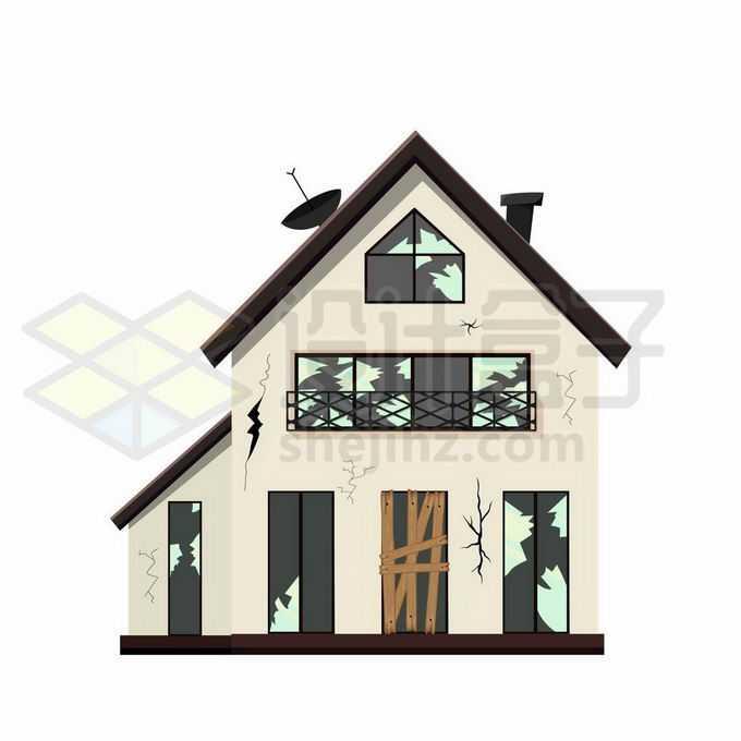 破败裂开的二层小楼别墅房子房屋建筑物6379482矢量图片免抠素材免费下载
