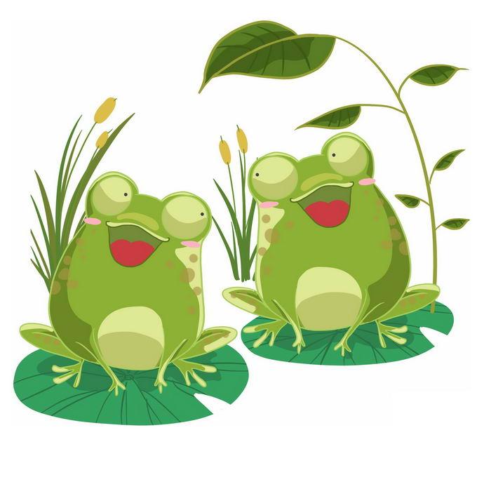 两个可爱的卡通青蛙趴在莲叶上唱歌快乐的青蛙1382475免抠图片素材 生物自然-第1张