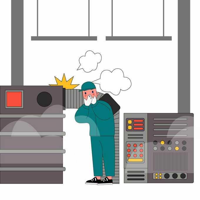 工厂当心高温蒸汽有毒气体泄漏安全生产宣传插画1583346矢量图片素材