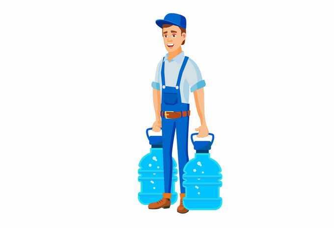 卡通送水工拎着两个水桶3866719矢量图片素材