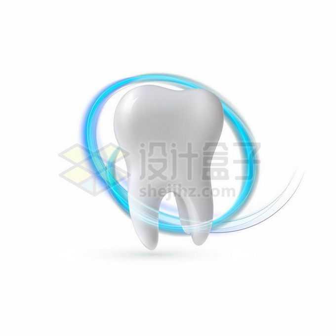 蓝色发光光环环绕的洁白牙齿象征了牙齿保健1709855矢量图片免抠素材