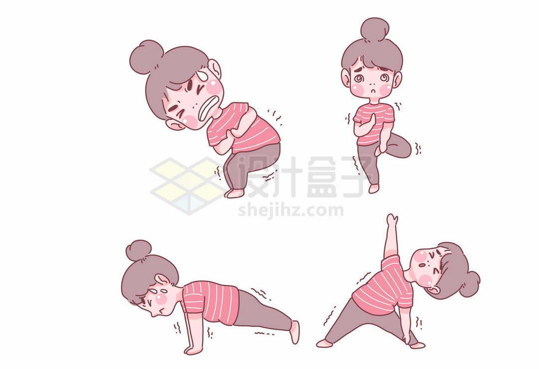 4款正在挥汗如雨健身锻炼身体瑜伽拉伸动作的卡通女孩手绘插画9543116矢量图片免抠素材